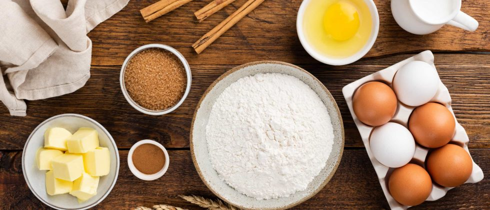 Assorted baking ingredients on a table