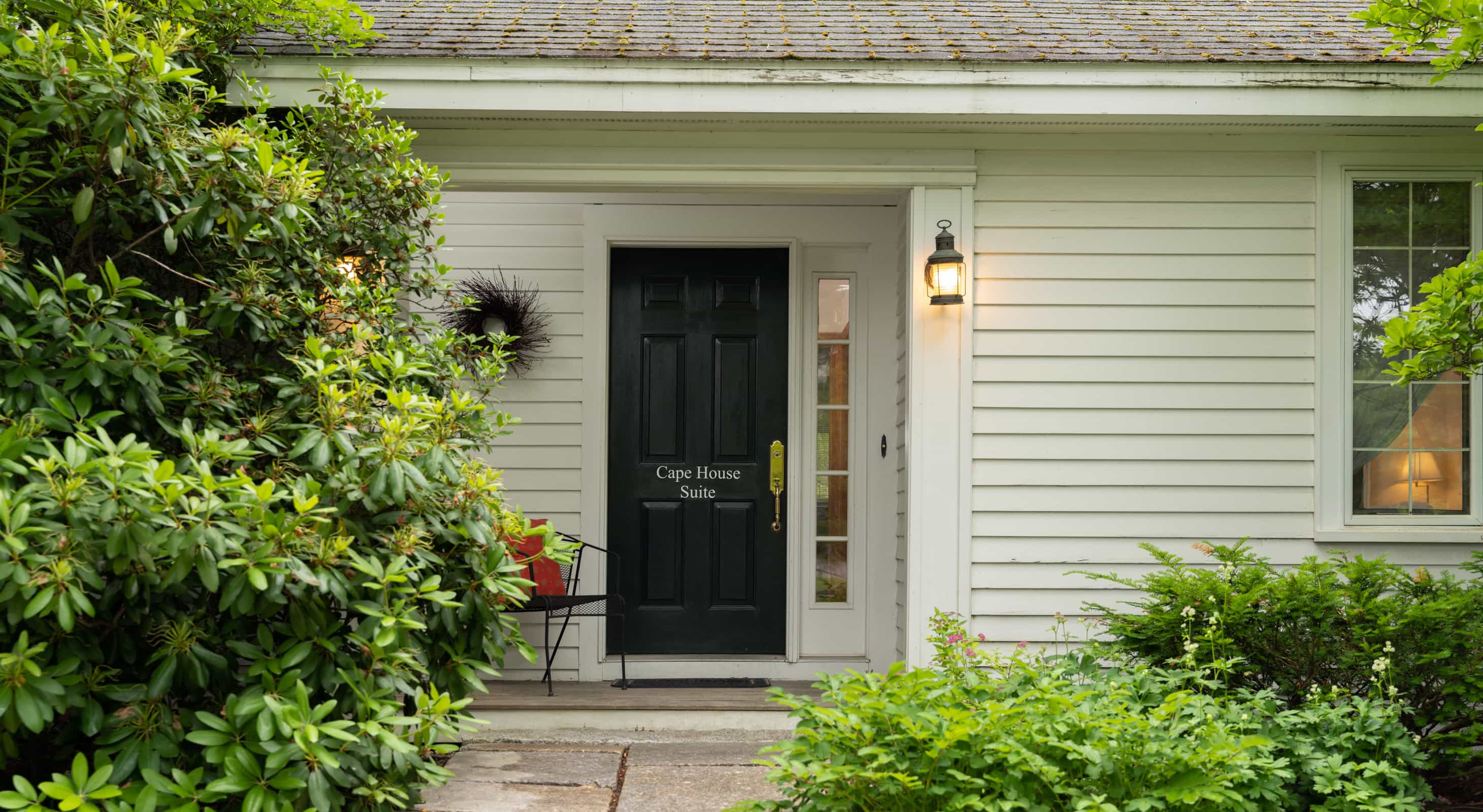 Exterior private entrance at our DownEast Maine Lodging
