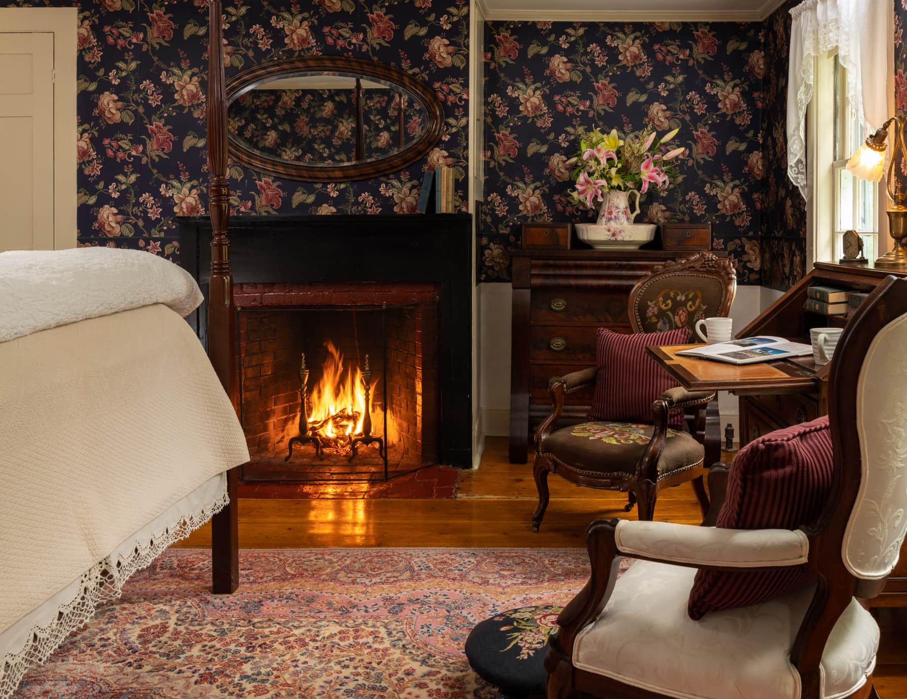 Room 4 fireplace at a Romantic DownEast Maine B&B