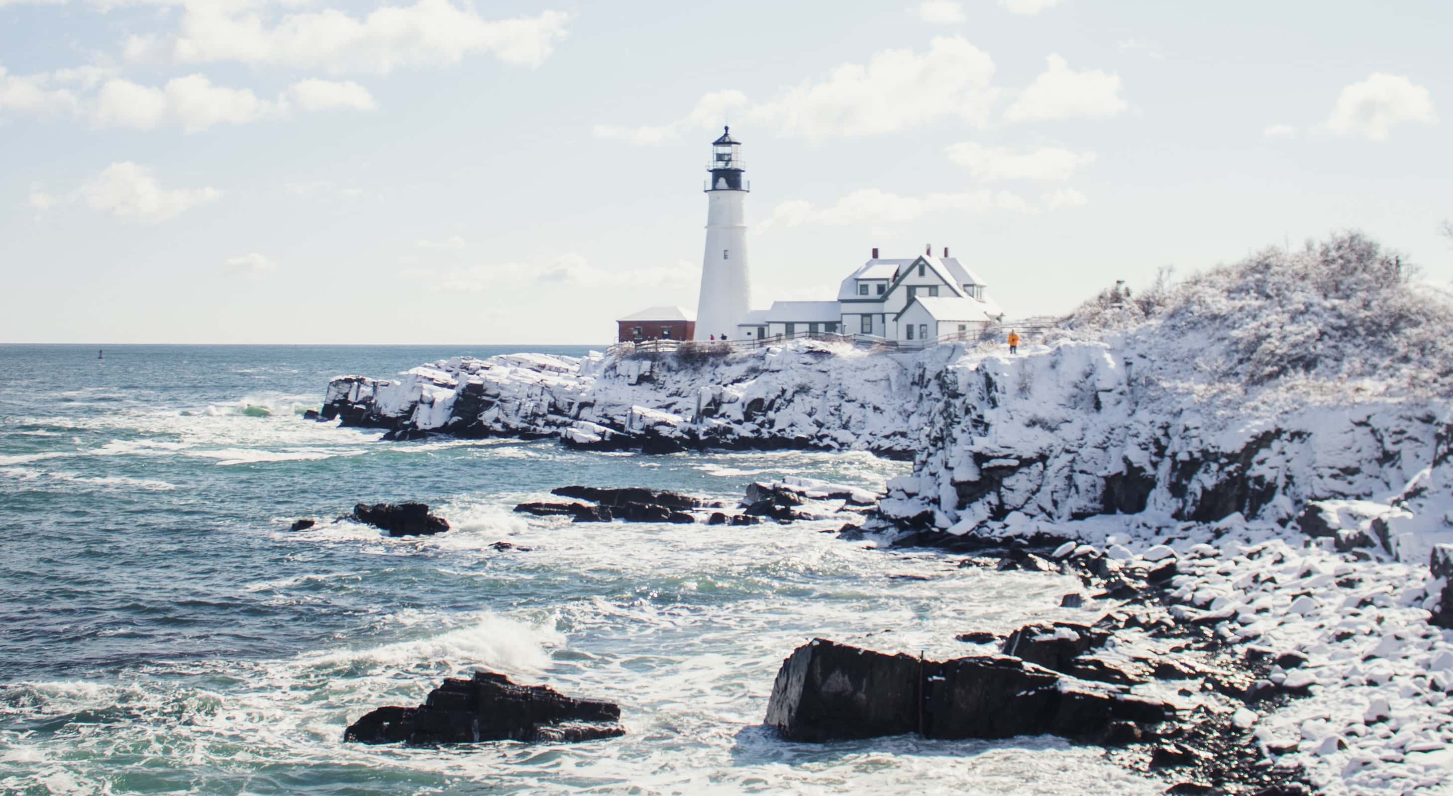 Lighthouse on the Maine Coast in winter