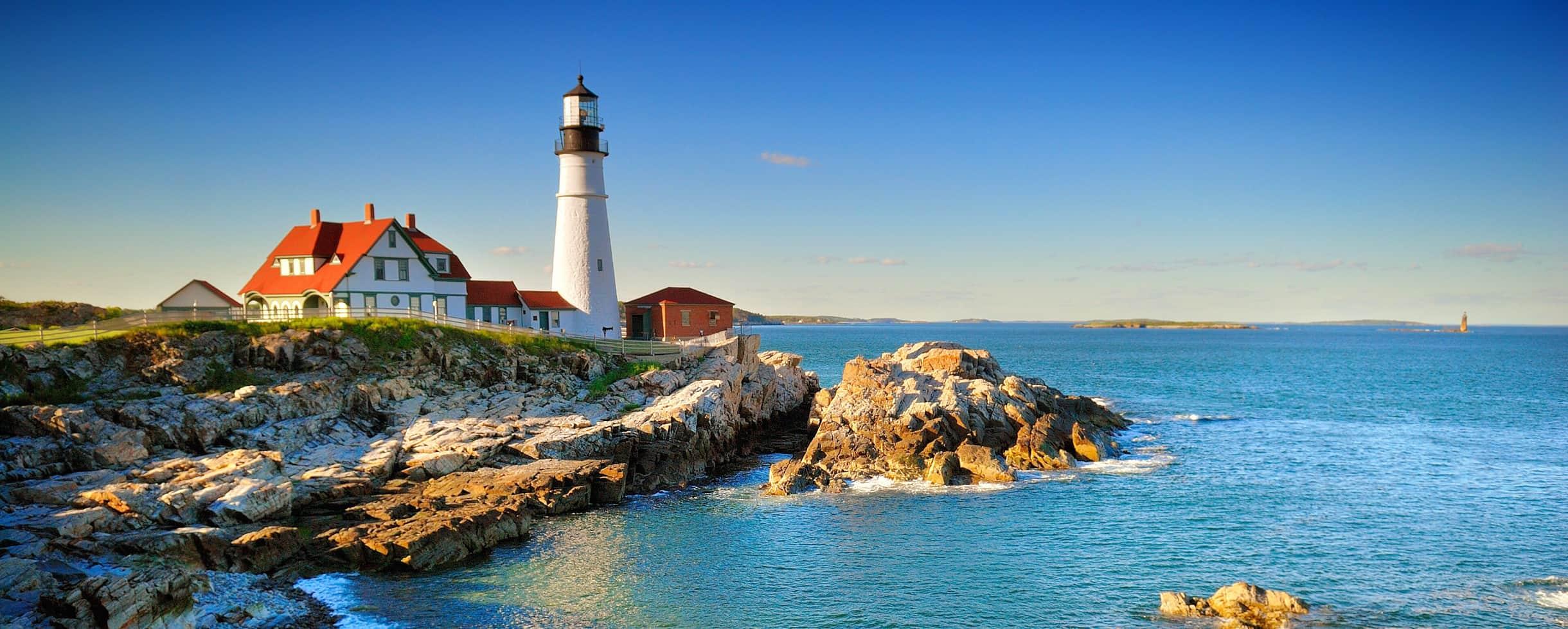 Lighthouse on the coast of Maine on a sunny day